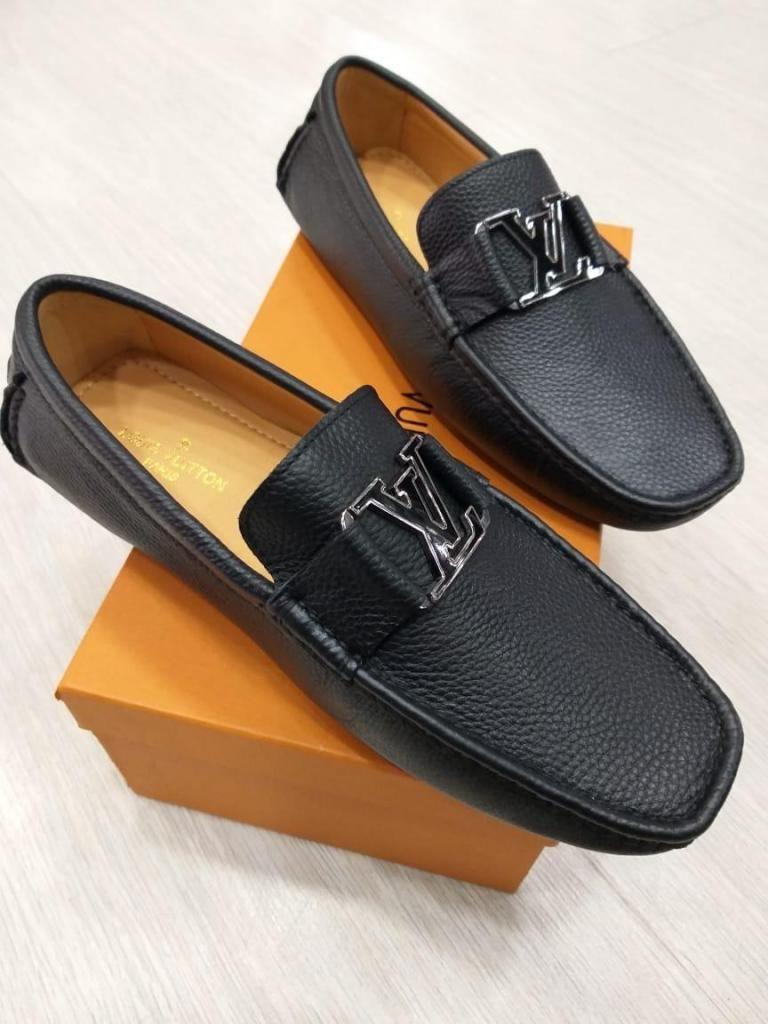 talla 40 9a34a ad01c mocasines zapatos lv LOUIS VUITTON NEGROS CUERO HEBILLA PARA ...