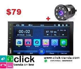 Radio para carro MirrorLink con camara de retro infrarroja -7 Pulgadas Doble Din Bluetooth Mp5 Full Touch