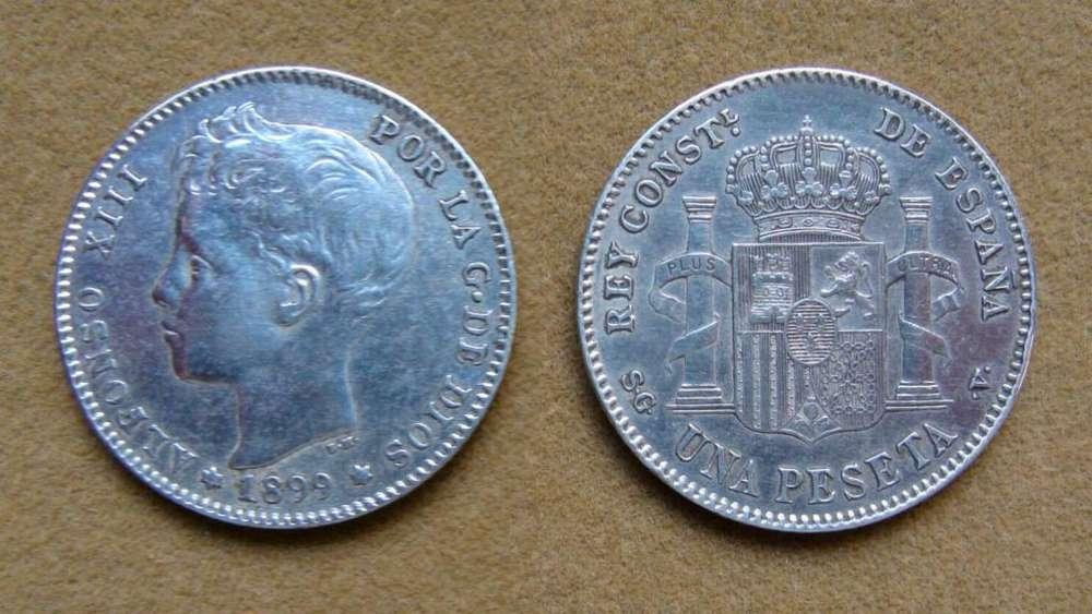 Moneda de 1 peseta de Plata, España 1899
