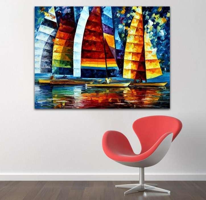 cuadro sobre lienzo de veleros 9974