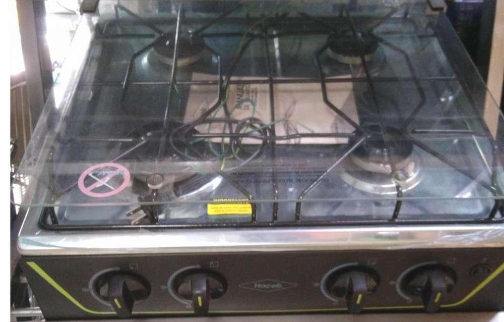 Haceb - Estufa De Mesa Avellana V Gas Natural Negra - Encendido electrico