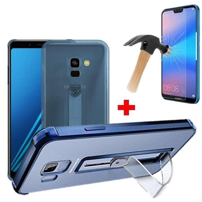 Estuche Forro Y Vidrio Templado Para Samsung A8 Plus 2018