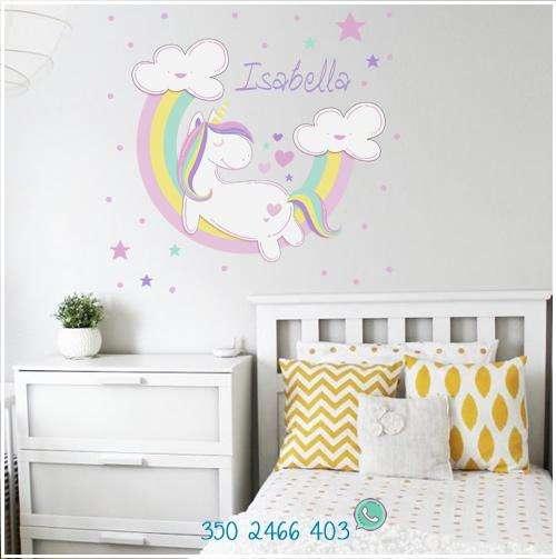 Unicornio dormido vinilo adhesivo para niña