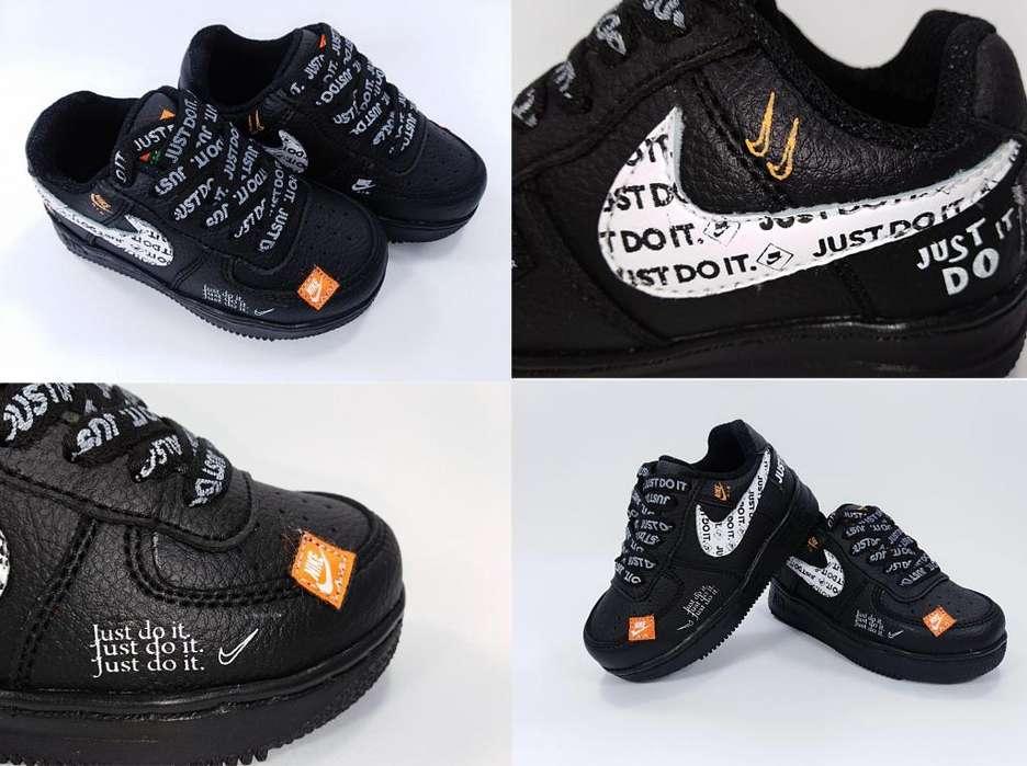 Calzado Zapatillas Tenis Nike Air Force One Just Do It Negros para niños ContraEntrega GRATIS