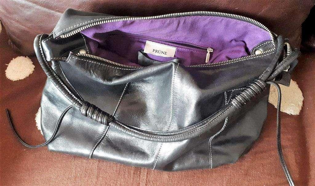 ef7508f76 Cartera tipo bolso de cuero legítimo al Hombro Prüne color negro ...