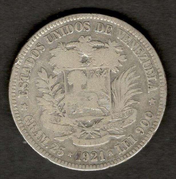 Venezuela 1921 FUERTE 5 Bolivares 90 Silver Coin 25 Grams