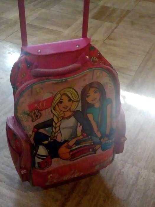Mochila Carrito Barbie Y Guardapolvo