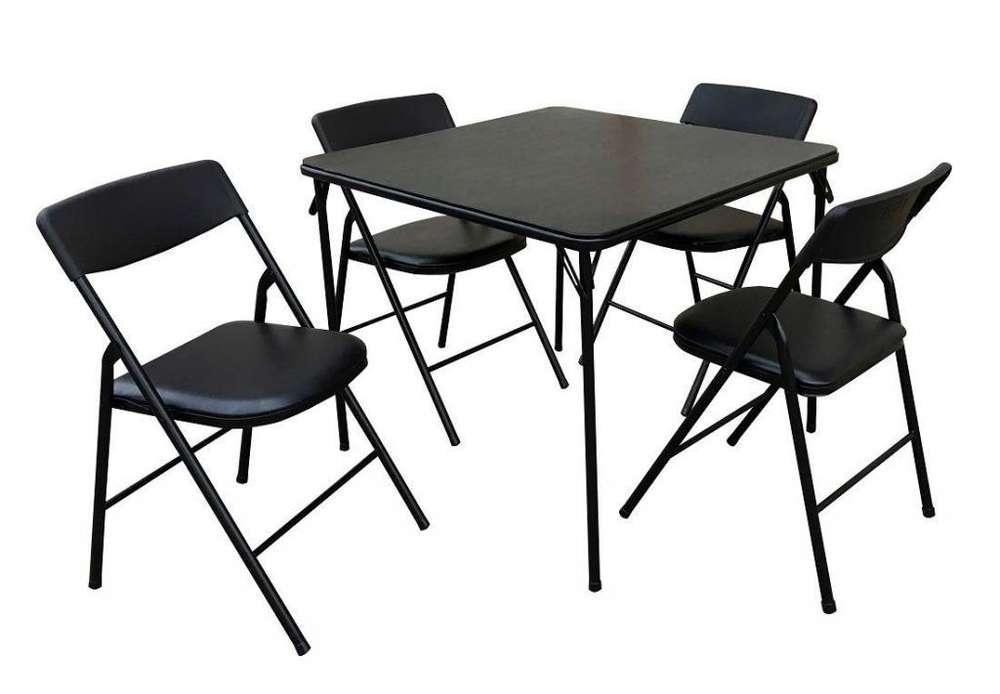 1 <strong>mesa</strong> y 4 Sillas nuevas plegables con acolchado de cuero, nuevos, stock 2 unidades