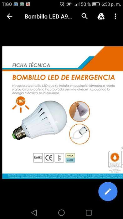 Bombillo Led de Emergencia Renovable