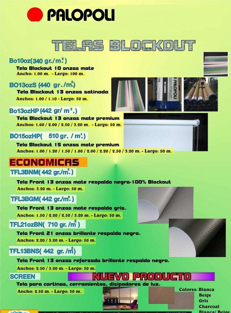 Black Out Tela Totalmente Black Out / Lona Impresion o Cortinas Anchos 1,00 a 3,20m 15oz  510 gr/m2 Palopoli