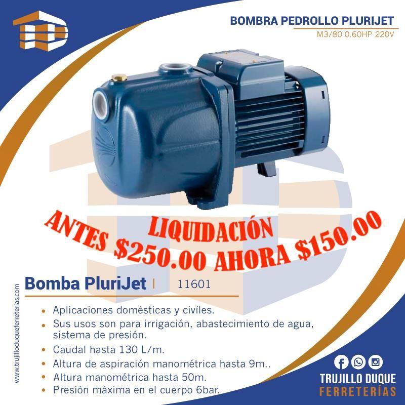 BOMBA PEDROLLO PLURIJET 3/80 0.60HP 220V