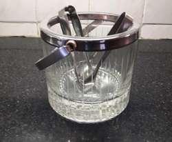 Hielera Vidrio Tallado con 2 Pinzas
