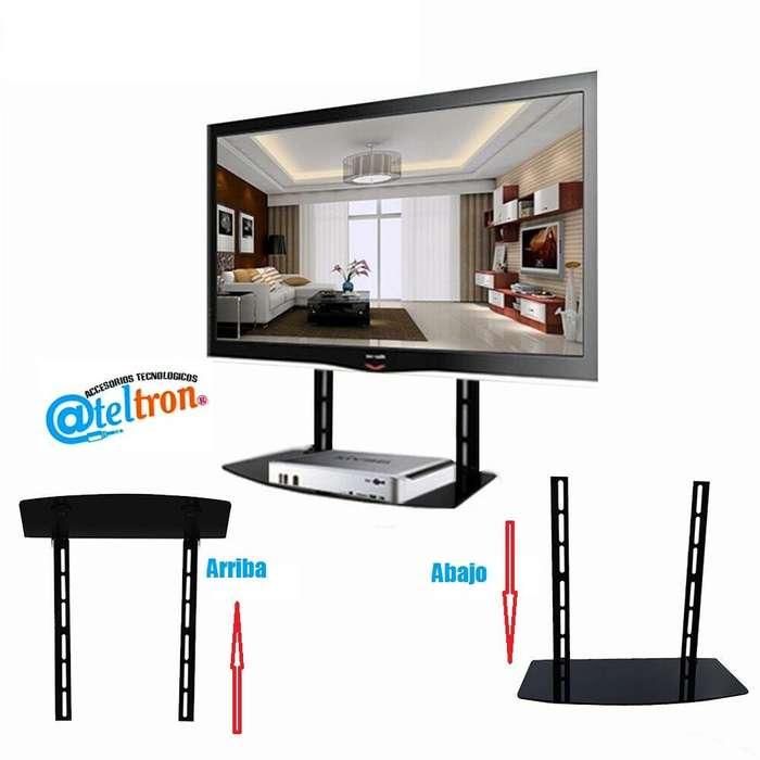 Bases soportes inclinables tv 32-55 led lcd con repisa flotante incorporada vidrio templado.