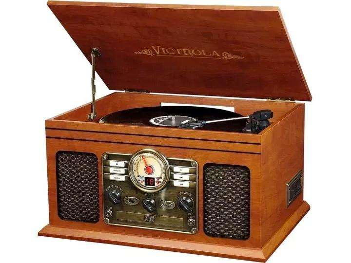 Toca Discos Victrola 6 X 1 Cassette Bluetooth Radio Graba Cd