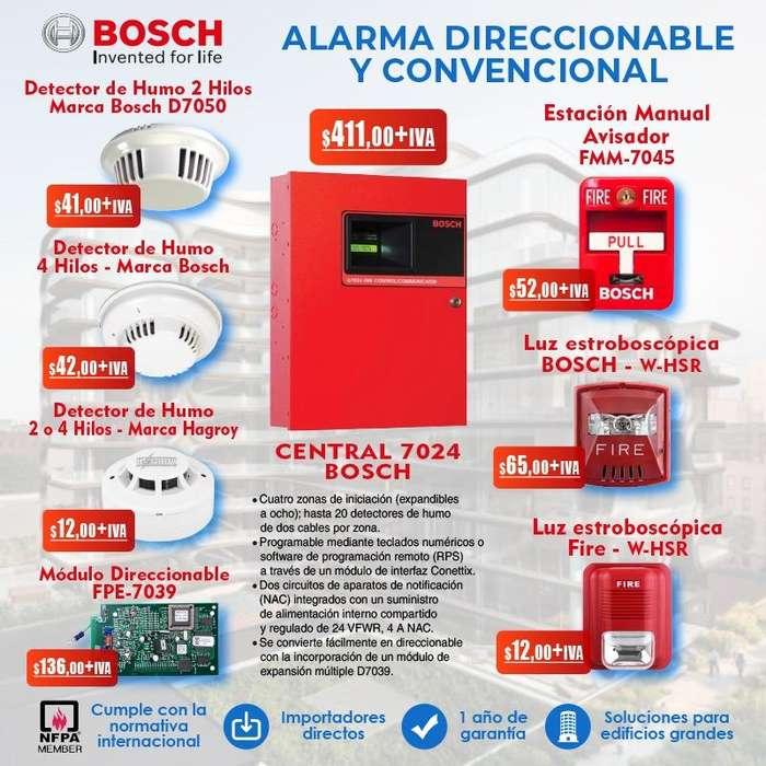 Sistema contra incendios guayaquil alarma central bosch 7024 direccionable y convencional detector de humo bosch