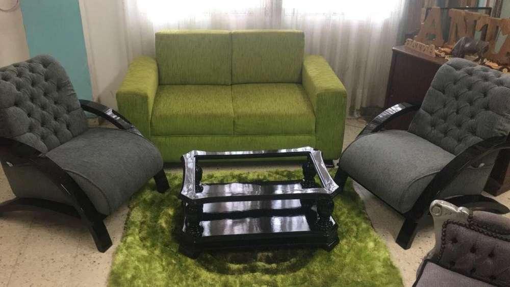 sofa de dos puestos 2 <strong>silla</strong>s y mesa de centro
