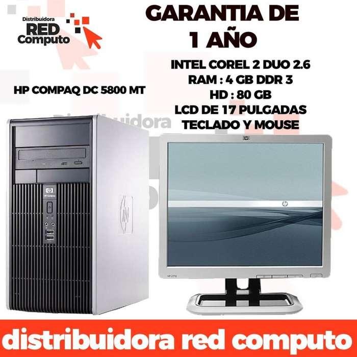 Computador Completo Core Duo Ram 4GB HD80LCD17Garantia 1 Año.