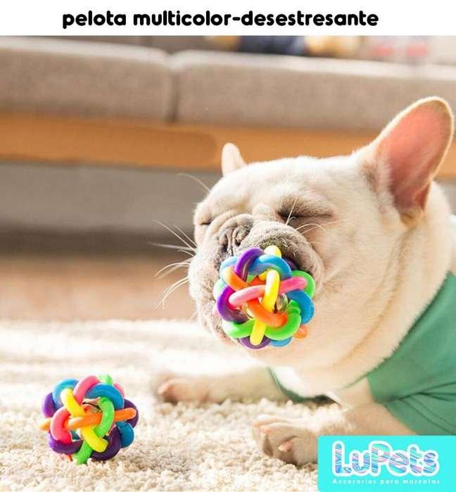 juguete multicolor perro desestresante con cascabel
