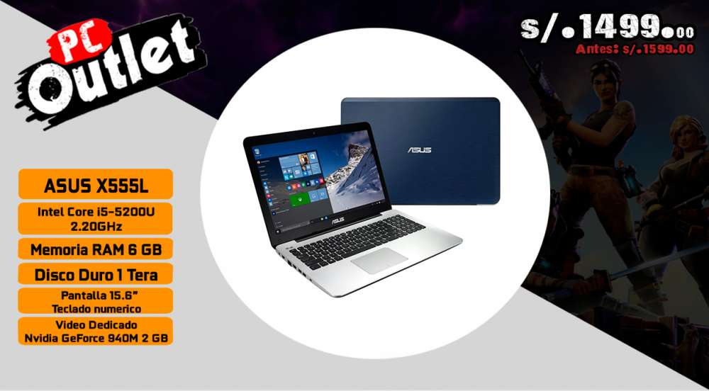 portatil asus x555l intel i5 5th vd 2gn nvidia geforce
