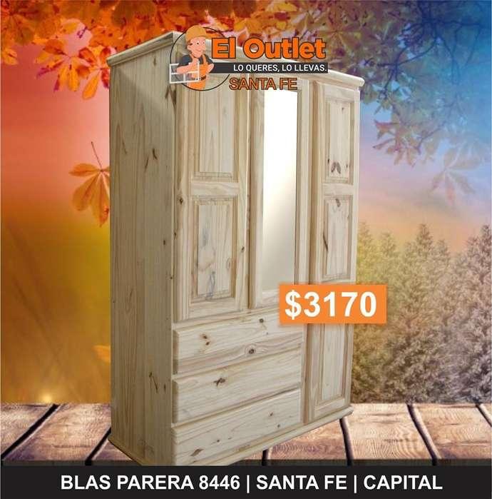 ROPERO MADERA DE PINO 1.20m con espejo