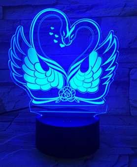 LAMPARA LED 3D EFECTO DE LUZ VISUAL, CAMBIO DE COLORES LUZ NOCTURNA. DISEÑO: CISNES
