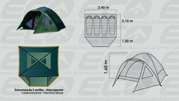 Combo carpa Doite Hi Camper 4 Bolsa de dormir Waterdog Cowl 350