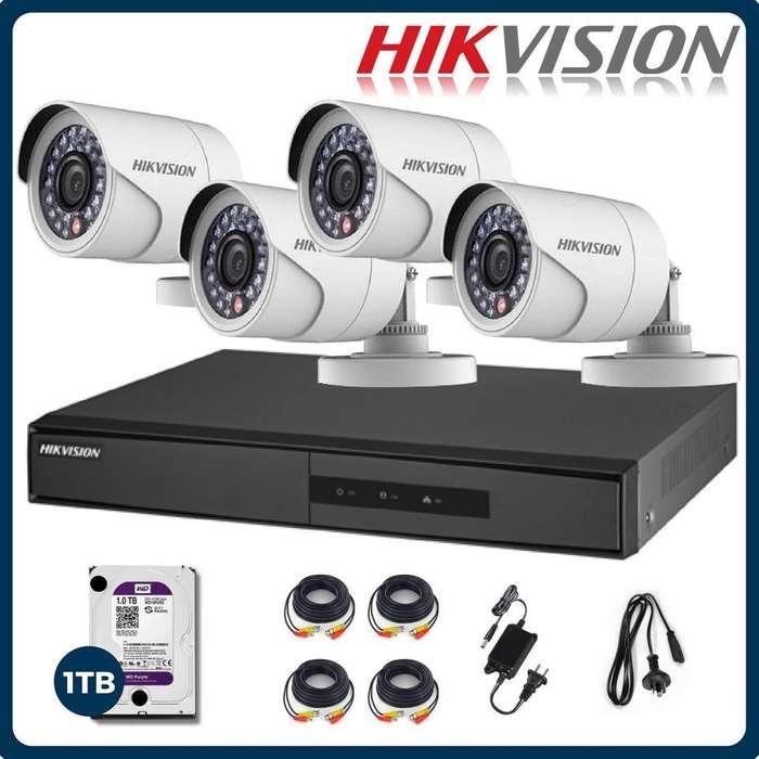 kit de cctv completo sin instalacion hikvision , dahua o dtx