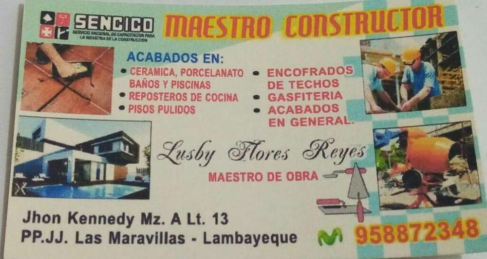 Maestro de Obra en Construcción Civil
