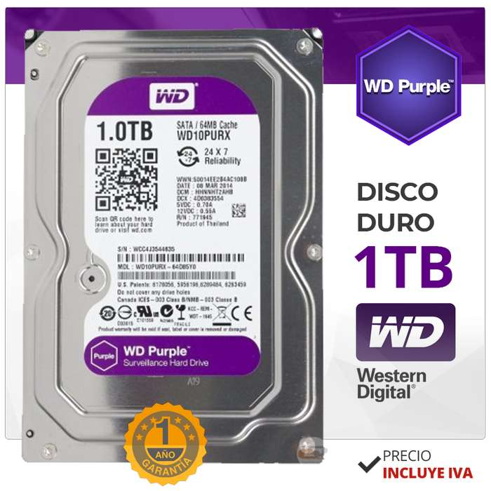 Disco Duro Purple. Wester Digital. Dvr. Cctv. 1tb, 2tb, 3tb, 4tb, 6tb. DVR Hikvision. Dahua. Videovigilancia