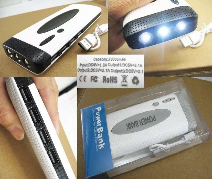 Power Bank 20000 Mah Cargador Portatil Batería Linterna 2 usb