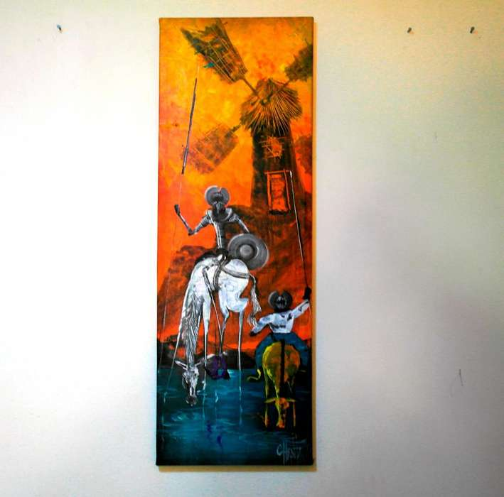 Cuadro Decorativo, <strong>pintura</strong>, Obra De Arte Sobre Lienzo 33x99