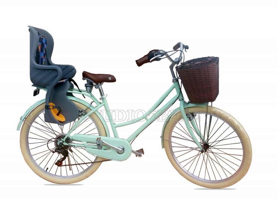 Bicicleta Vintage de Mujer Aro 26 con Portabebe