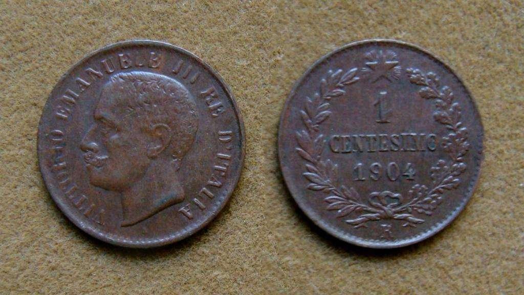 Moneda de 1 centésimo, Italia 1904