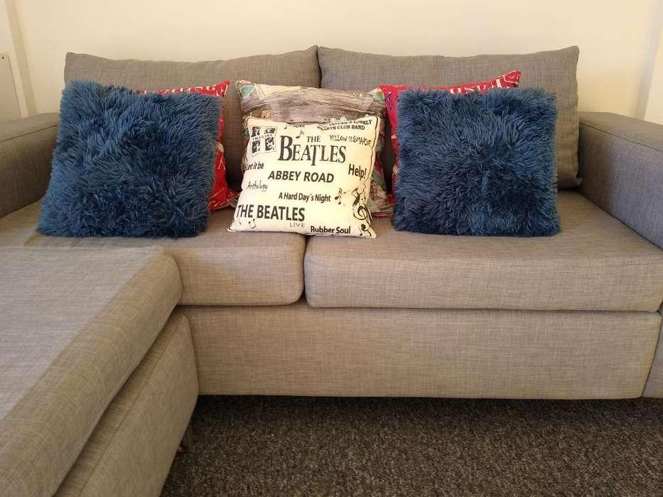Sofa 3 Cuerpos en L - Tela: Lino Gris
