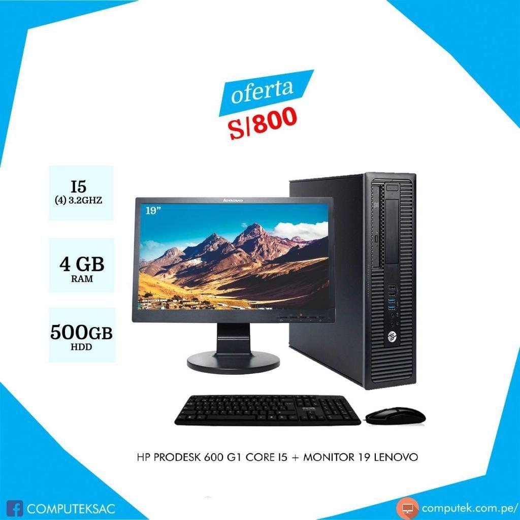 HP PRODESK 600 G1 - Core i5-4 Gen, Ram 4gb, Disco 500Gb, monitor 19