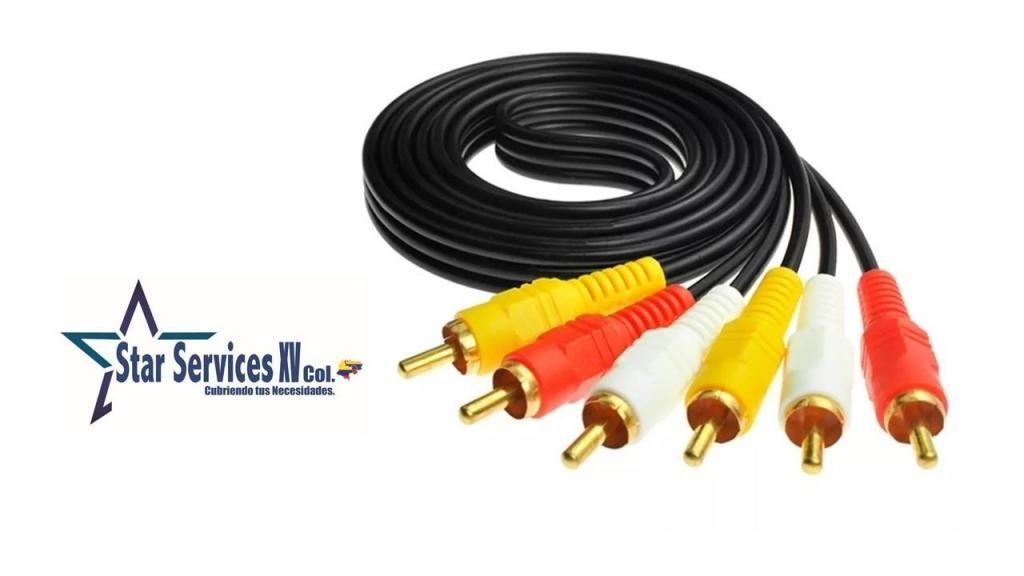 Cable Rca 3x3 Rca Macho  Macho De 1.5 Metros Para Tv Dvd
