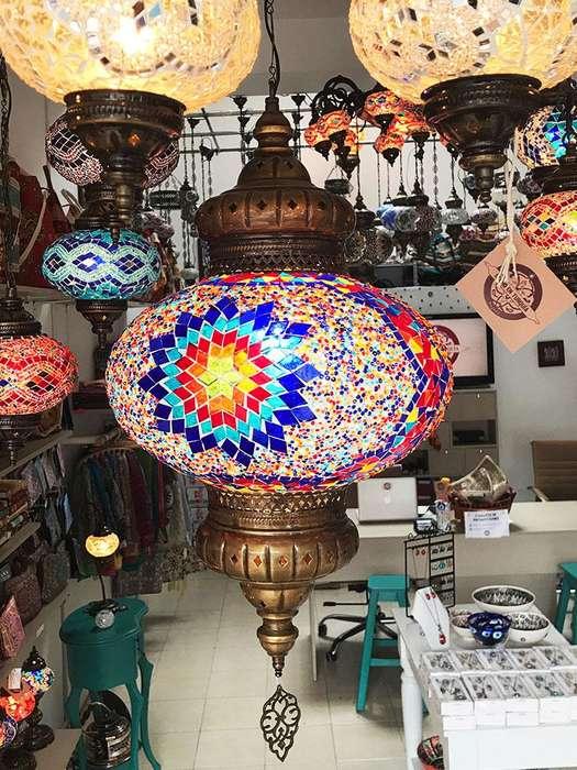 Lamparas turcas mosaicas de techo
