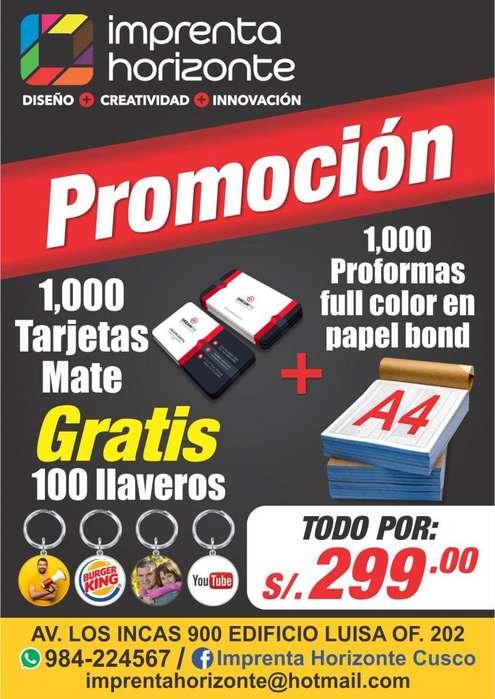 promoción tarjetas personales, volantes, proformas y más.