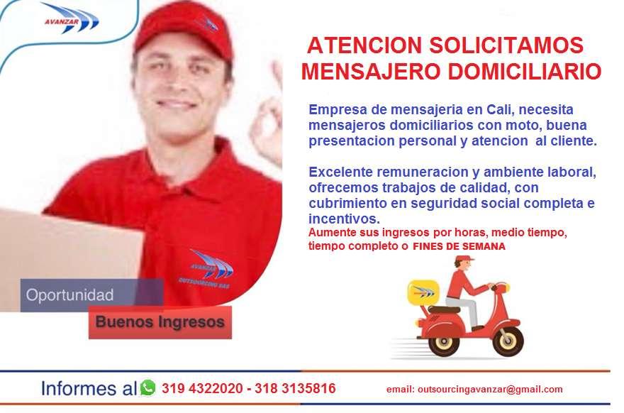 AAAAAATENCIÓN MENSAJEROS DOMICILIARIOS CON MOTO