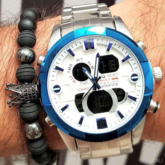 Reloj Casio Edifice de color plateado con azul y blanco para hombre