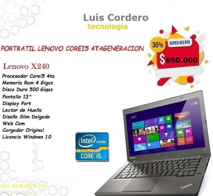 PORTATIL LENOVO COREI5 4TA GENERACION X240