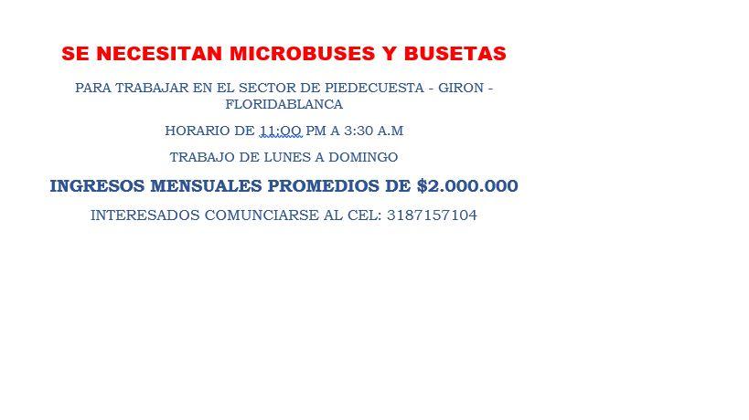 oferta de trabajo microbuses y busetas
