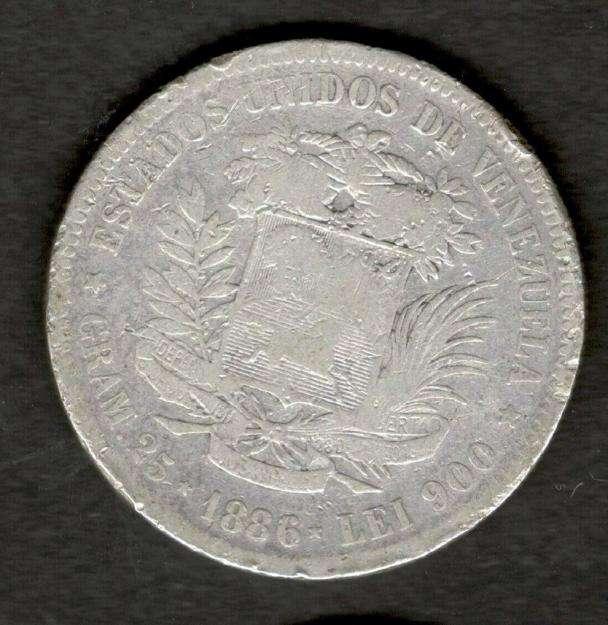 Venezuela 1886 FUERTE 5 Bolivares Silver Coin 25 Grams 90 Silver