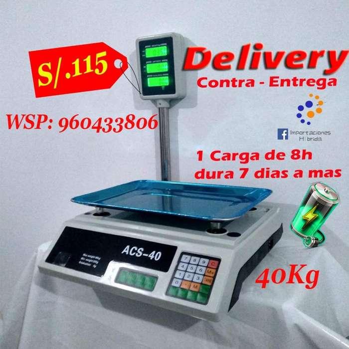 Balanza de bodega 40 kilos recargable electricidad con calculadora mica protectora no celular moto