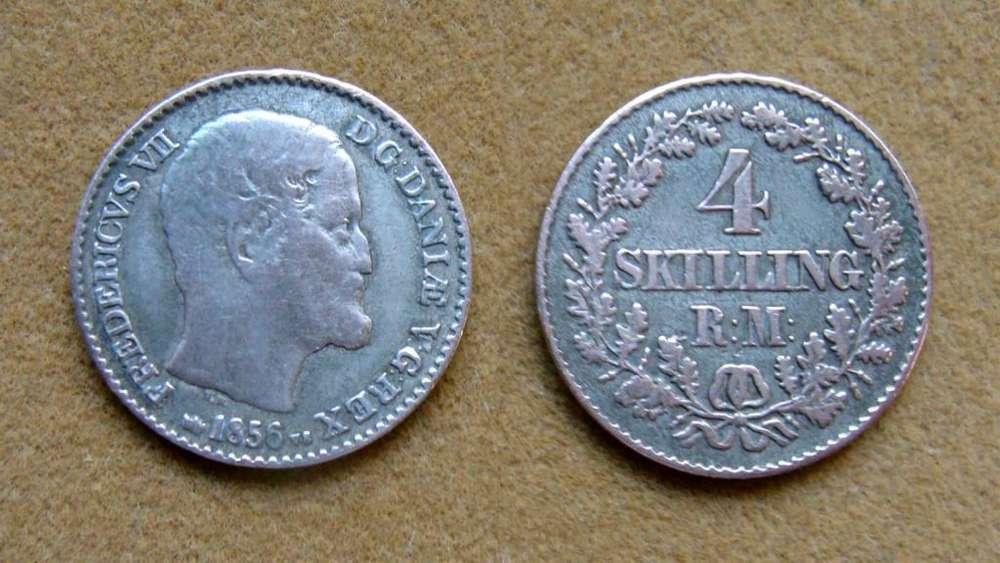 Moneda de 4 skilling rigsmont de plata Dinamarca 1856