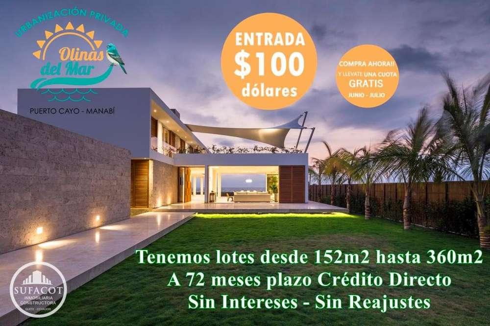 SU CASA EN LA PLAYA / LOTES URBANIZADOS CON 100USD DE ENTRADA / SD3