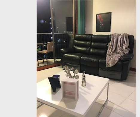 Sof de cuero 3 puestos reclinable automtico