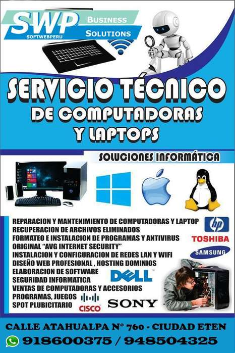SOPORTE TÉCNICO COMPUTADORAS, LAPTOPS CHICLAYO