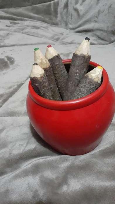 Lapices con Textura de Tronco (madera)