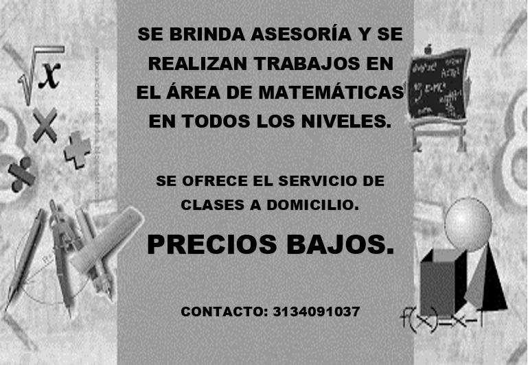 ASESORIAS EN EL ÁREA DE MATEMÁTICAS